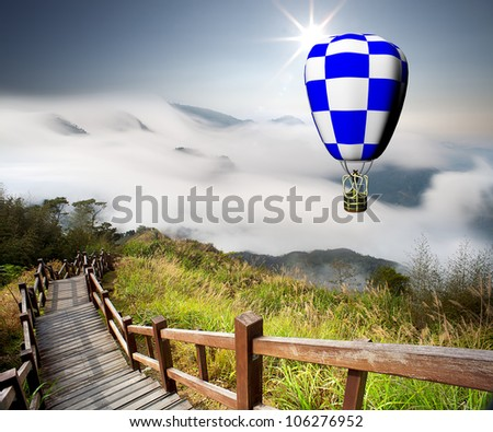 colorful hot air balloons with nice background - stock photo