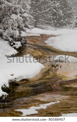 Colorful hot and steamy geyser in winter