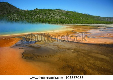 colorful hot spring with rust colored algae