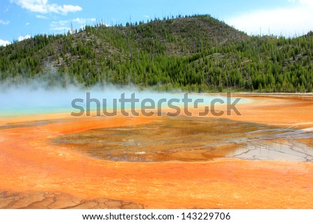 Colorful hotsprings in Yellowstone National Park, Wyoming, USA. - stock photo