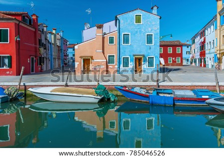 Colorful house in Burano island, Venice, Italy.