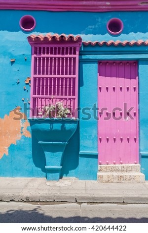 Colorful house in center of Cartagena, Colombia. - stock photo