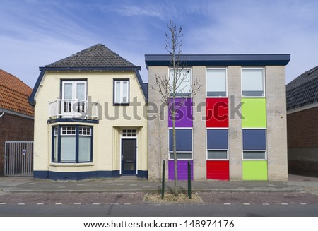 colorful house in enschede - stock photo