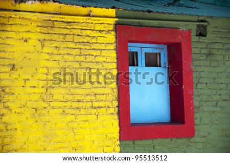 Colorful house of La Boca neighborhood, or barrio of the Argentine capital, Buenos Aires - stock photo