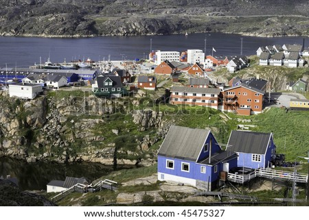 Colorful Houses and buildings taken on a sunny say at Sisimiut, Greenland.