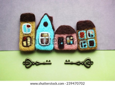 colorful houses and keys - stock photo