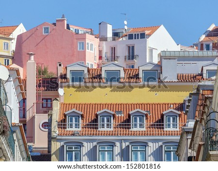 Colorful houses and roofs of Lisbon - Portugal - stock photo