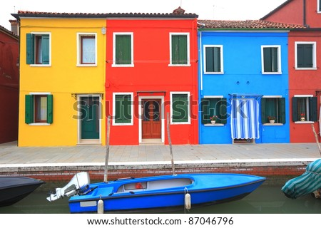 colorful houses at Burano, Italy - stock photo