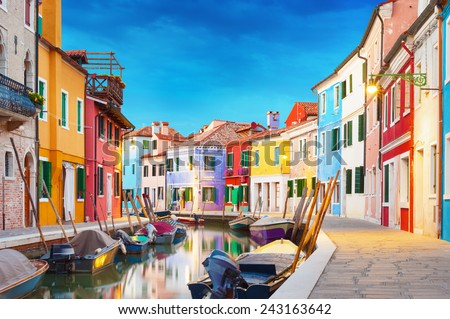 Colorful houses at night in Burano, Venice Italy. - stock photo