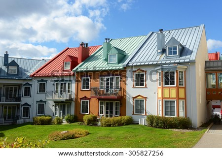 Colorful Houses at villiage of Mont-Tremblant, Quebec, Canada - stock photo