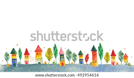 colorful houses.background blank space