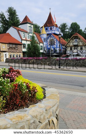 Colorful Houses in Bavarian Village - stock photo