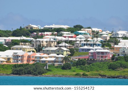 Colorful Houses in Bermuda - stock photo