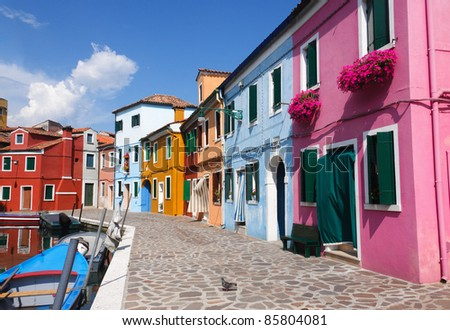 Colorful houses in Burano, one of the islands around Venice in Italy - stock photo