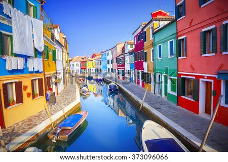 Colorful houses in Burano, Venice, Italy - stock photo