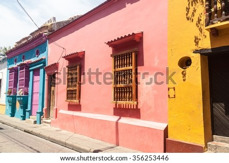 Colorful houses in center of Cartagena, Colombia. - stock photo