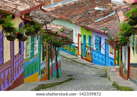 colorful houses in Guatape Colombia