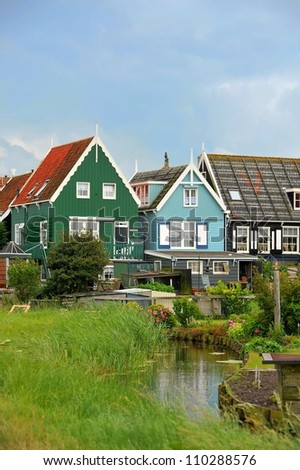 Colorful houses in Marken, the Netherlands - stock photo