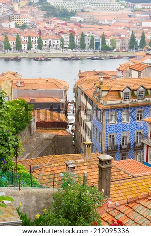 colorful houses in old town, Porto, Portugal - stock photo