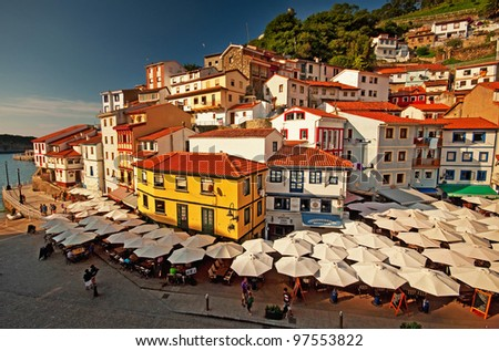Colorful houses in the old town at summer - stock photo