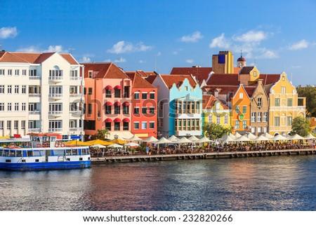 Colorful houses of Willemstad in Curacao, Netherlands Antilles. - stock photo