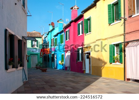 Colorful houses on Burano Island in Venice, Italy