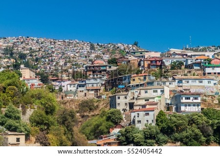 Colorful houses on hills in Valparaiso, Chile