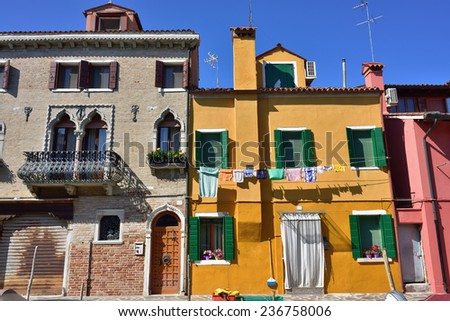 Colorful houses on the famous island Burano. Venice and the Venetian lagoon are on the UNESCO World Heritage List