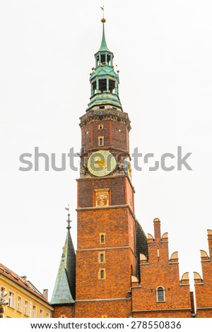 Colorful Houses on the Market square in Wroclaw, Poland - stock photo