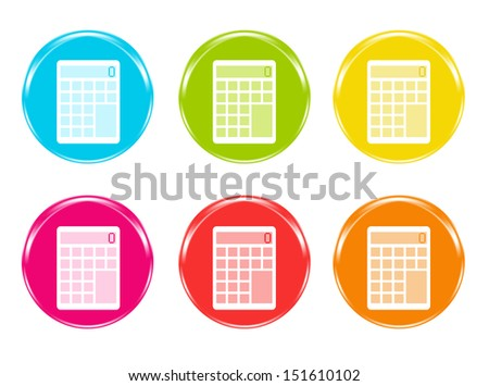 Colorful icons with a calculator symbol in blue, green, yellow, pink, red and orange colors - stock photo