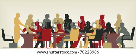 Colorful illustrated foreground silhouette of people in a meeting - stock photo