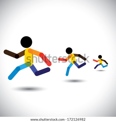 colorful illustration icons of sprint athletes racing in a competition. This abstract graphic can also represent person winning the challenge, cardio workouts, health training, running marathon, etc - stock photo