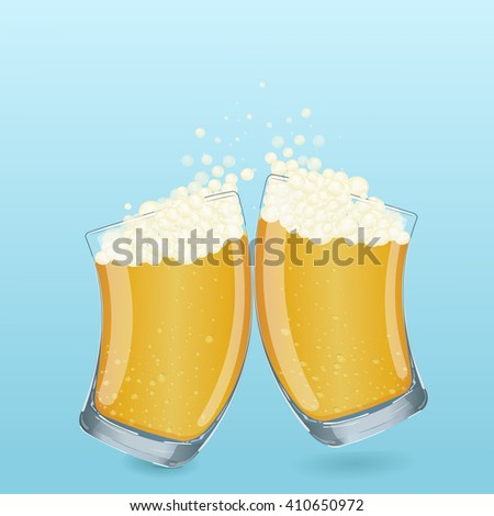 Colorful illustration. In cartoon style. Drink in a transparent glass beaker. Two glasses with foamy beer is poured. Using the graphic design as a greeting card, web design, logos and more.