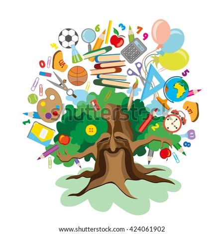 Colorful Illustration of a tree with school supplies - stock photo