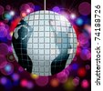 Colorful illustration of party girl silhouettes reflecting in a disco ball - stock photo