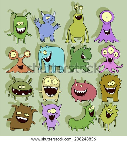 Colorful illustration set of cute little smiling monsters - stock photo