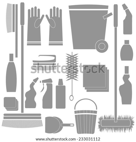 colorful illustration with  Cleaning Tools silhouettes on white background - stock photo