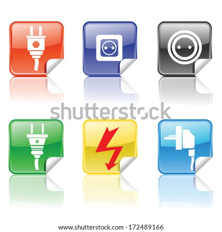 colorful illustration with electric icons for your design - stock photo