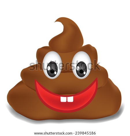 colorful illustration  with   excrement  on white background - stock photo