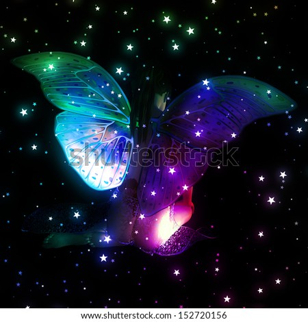 Colorful illustration with fairy and stars on black background. - stock photo