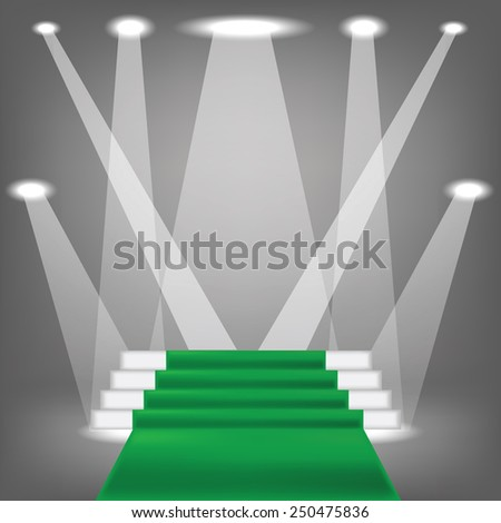 colorful illustration  with green carpet  on grey background - stock photo
