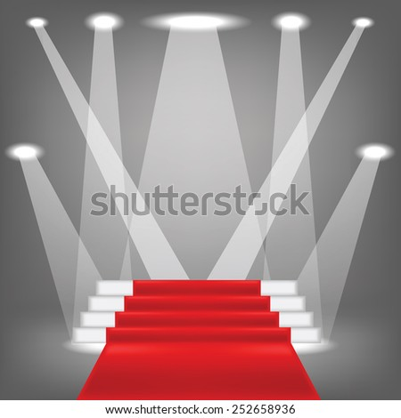 colorful illustration  with red carpet on grey background - stock photo