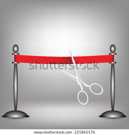 colorful illustration with red ribbon on a grey background - stock photo