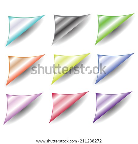 colorful illustration with  set of paper corners on a white background