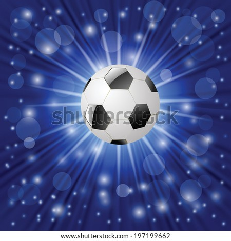 colorful illustration with  soccer ball on a blue background for your design - stock photo
