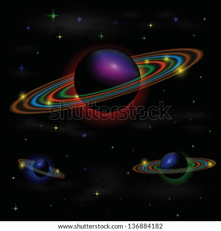 colorful illustration with space background for your design - stock photo