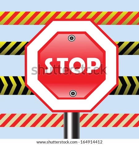 colorful illustration with stop sign for your design - stock photo