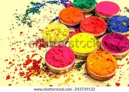 Colorful Indian powder - stock photo