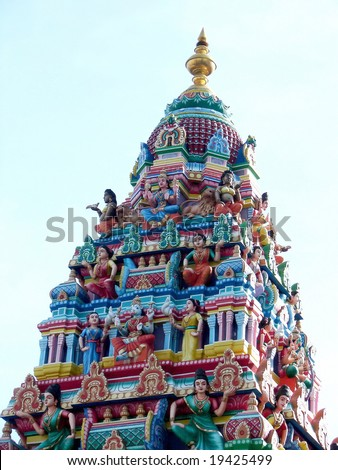 Colorful Indian temple dome