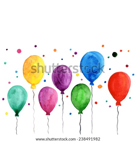 Colorful inflatable balloons. Birthday card decoration. - stock photo